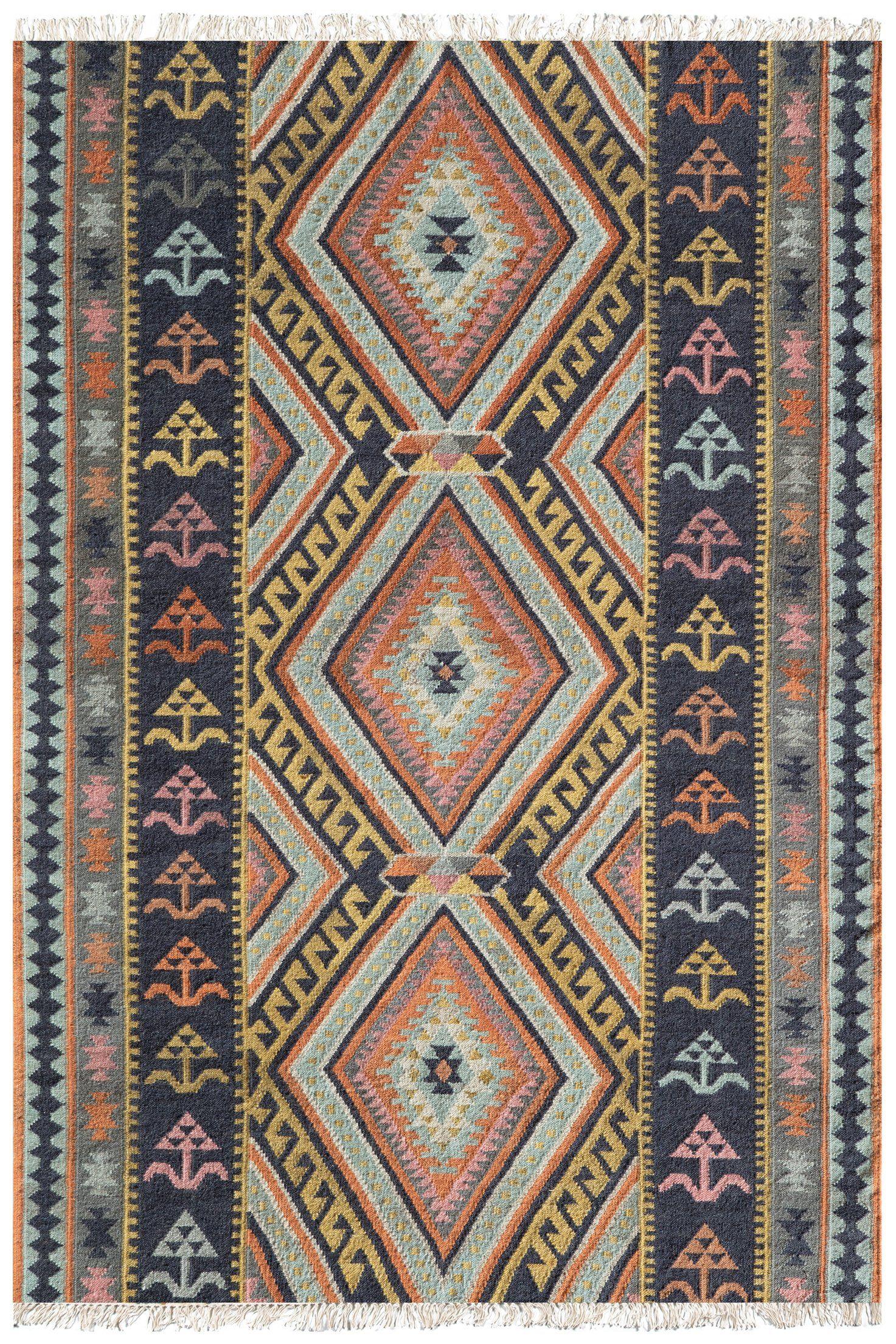Southwest Boho Flatweave Kilim Style Orange Pink Blue Rug Kilim