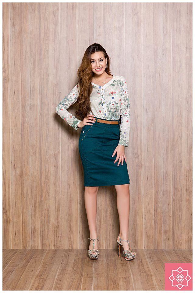 Saia Recortes Verde Nítido Jeans #viaevangelica #nitidojeans #modaevangelica #modafeminina