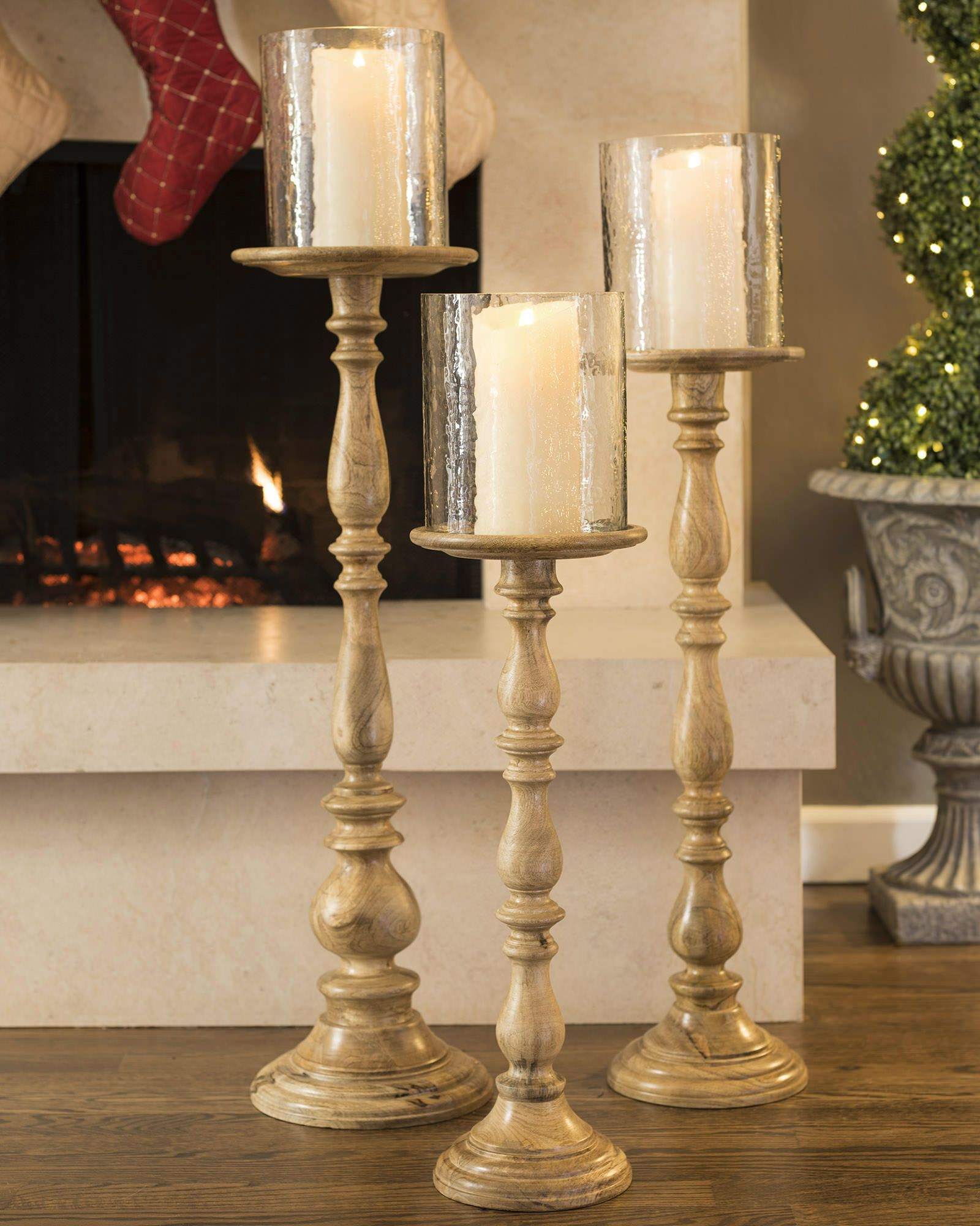 Wooden floor candle holders balsam hill home is where my heart tall candle holders to classic or modern interior tall wooden pillar candle holders reviewsmspy