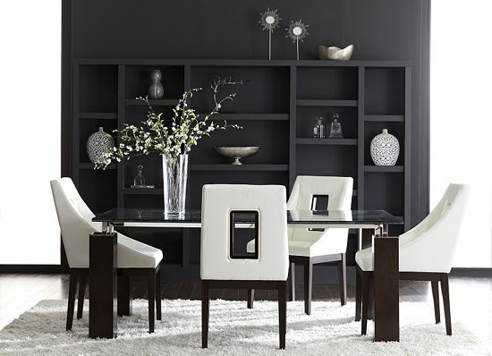 Our Modern Vogue Collection Has A Glamorous Frosted Glass Table Top, Chairs  With Cut