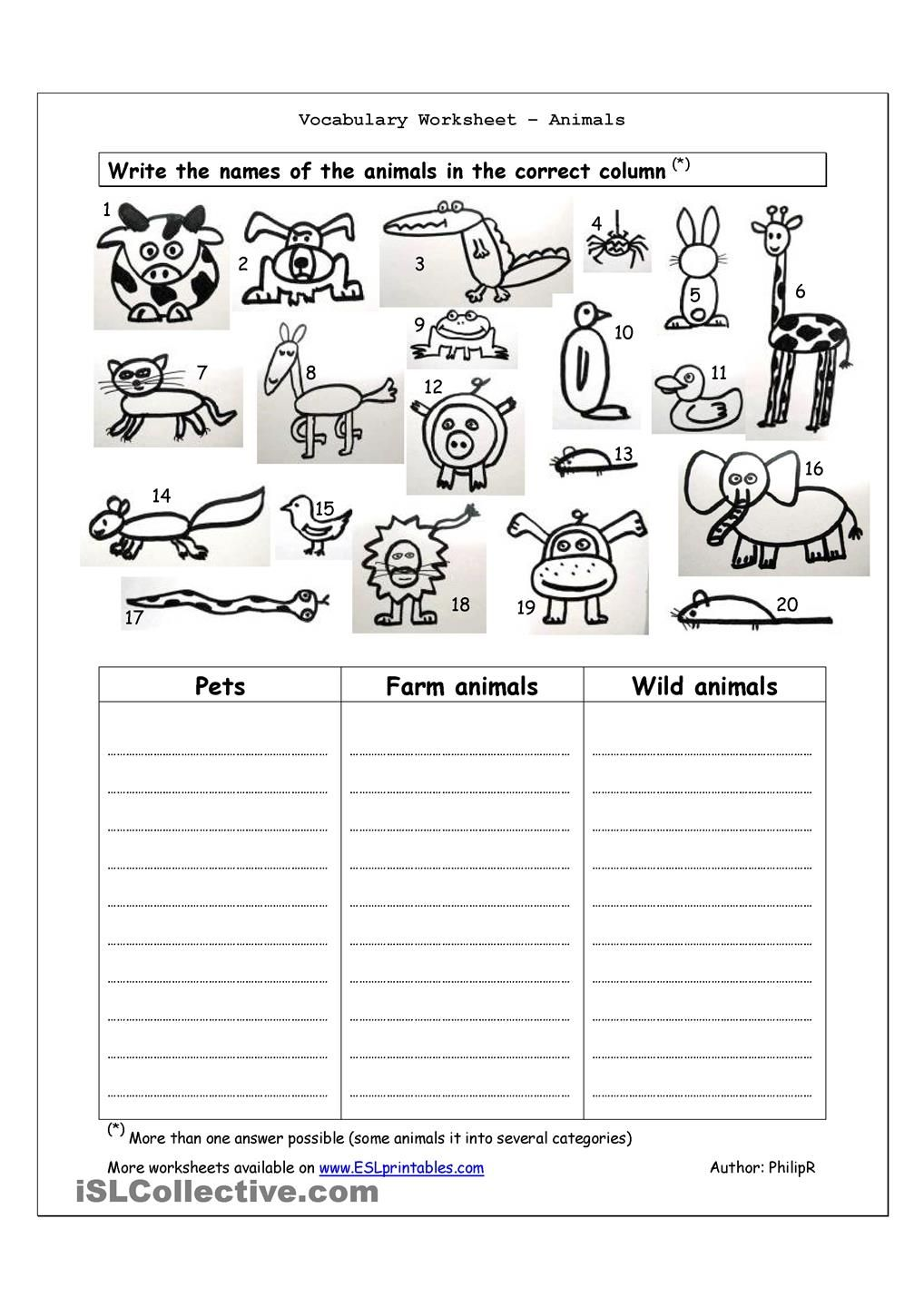 vocabulary worksheet animals english 4th grade englanti. Black Bedroom Furniture Sets. Home Design Ideas