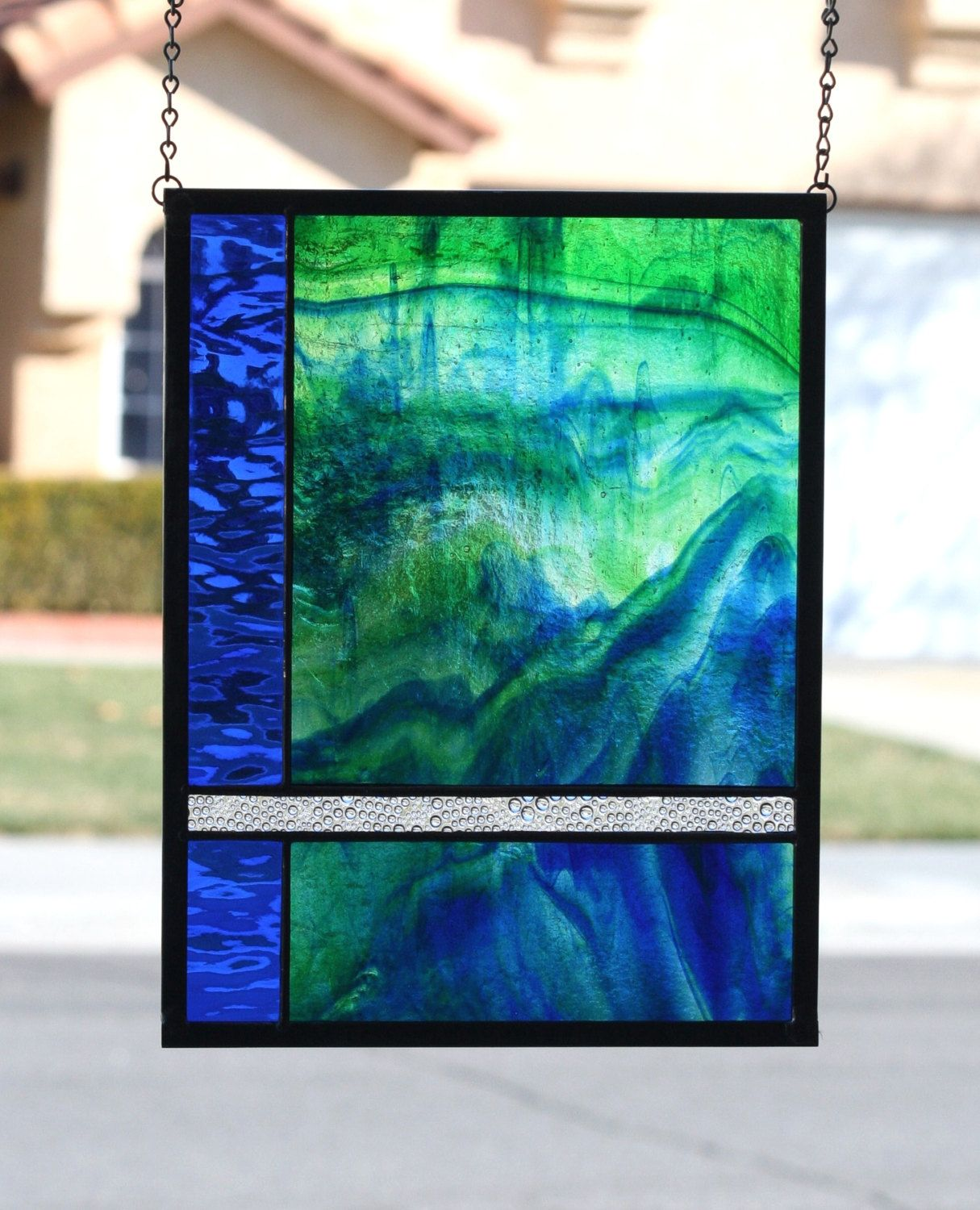OCEAN TIDES - Abstract Stained Glass Window Panel with Sea Colors