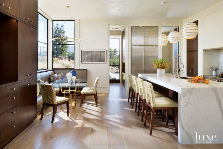 Modern White Kitchen with Glass Breakfast Table https   luxesource     Modern White Kitchen with Glass Breakfast Table