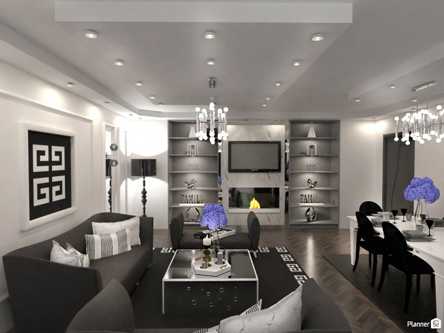 Living Room Interior White And Black Color Planner 5d Living