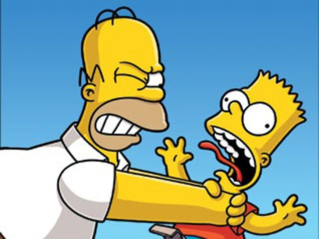 Image result for homer simpson choking bart