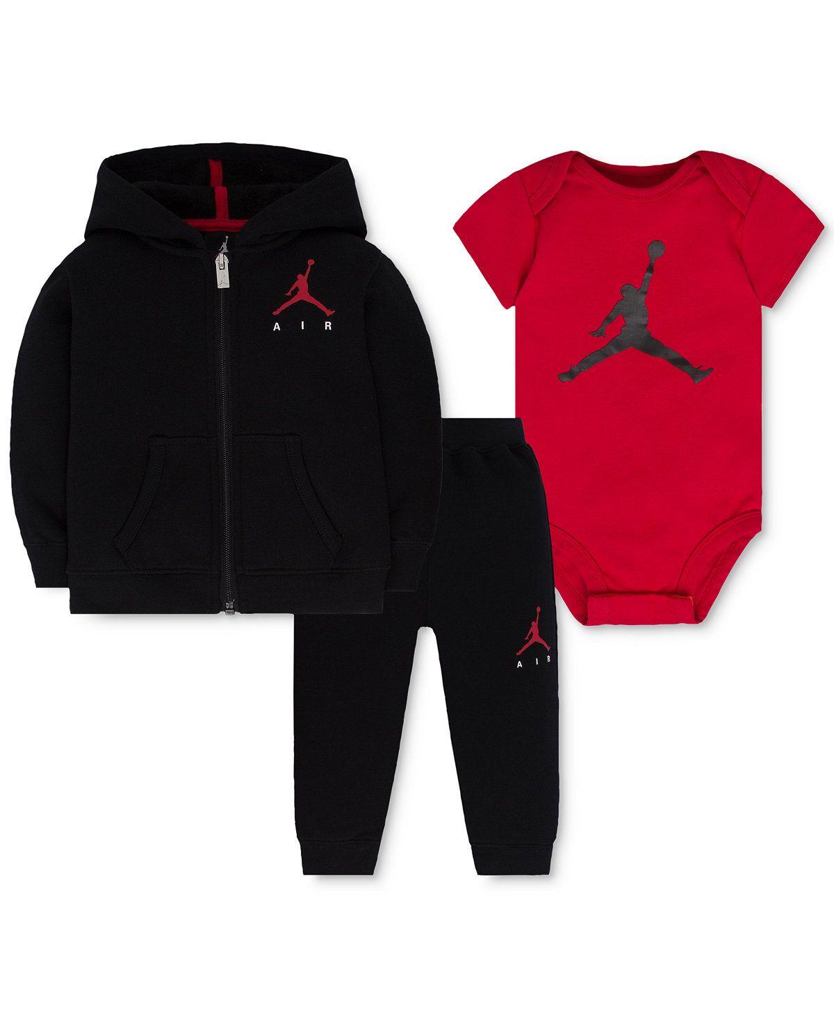 5449ac903 Jordan Baby Boys' 3-Pc. Air Fleece Hoodie, Bodysuit & Pants Set - Sets &  Outfits - Kids & Baby - Macy's