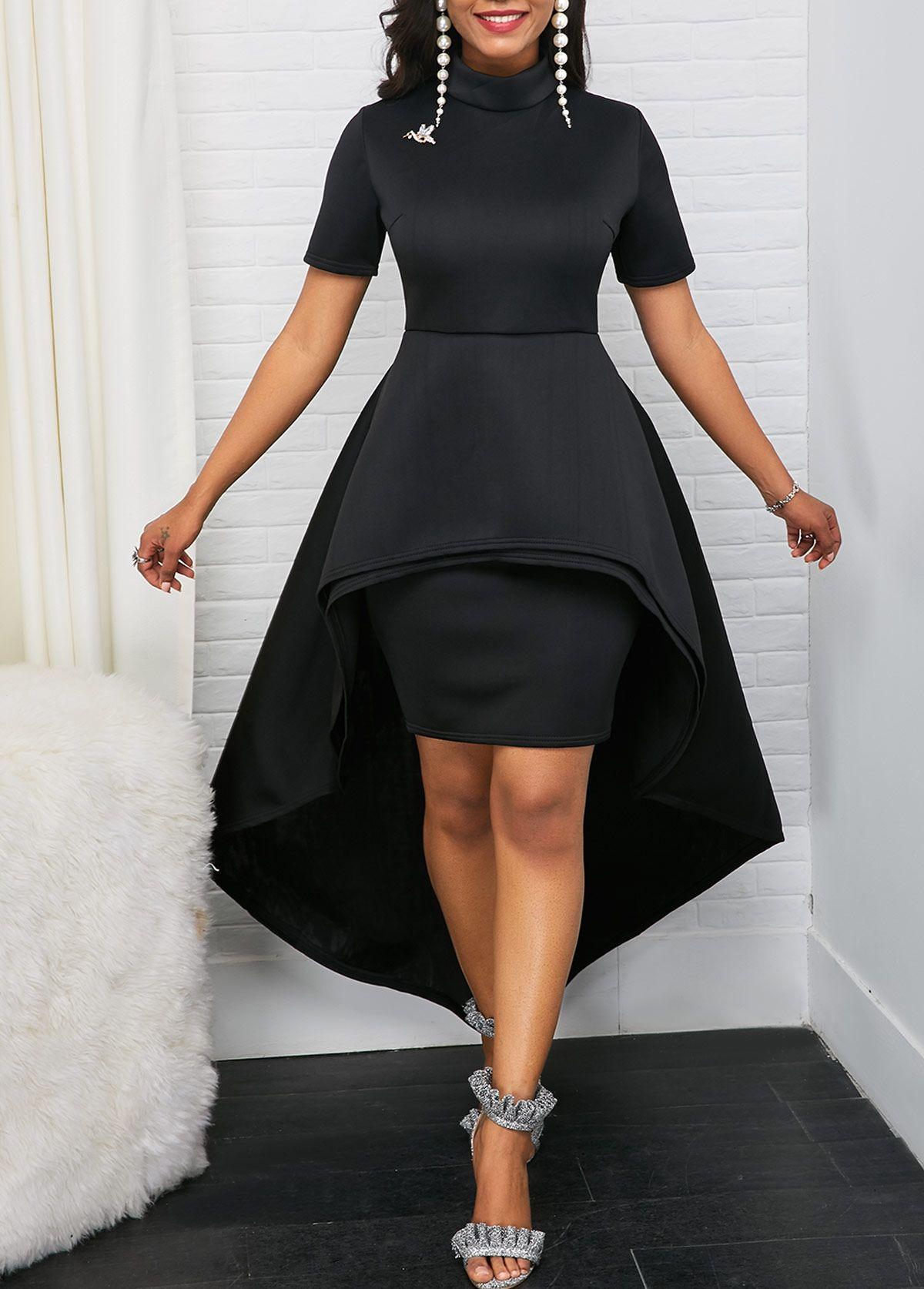 Mock Neck Short Sleeve Black High Low Dress Rotita Com Usd 37 57 Black High Low Dress Shop Casual Dresses High Low Dress [ 1674 x 1200 Pixel ]