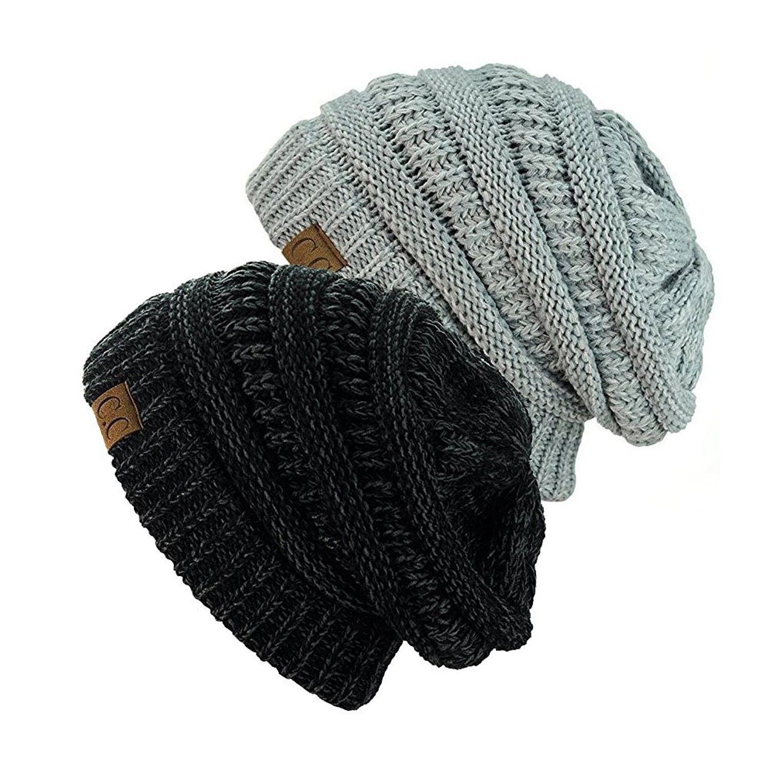 e37cf71b4ff Exclusive Unisex Two Tone Warm Cable Knit Thick Slouch Beanie Cap  (Black Charcoal   2 Tone Grey) - CP12NRHW0G7 - Hats   Caps