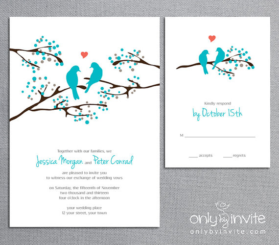 Turquoise Wedding Invitation And Info Card