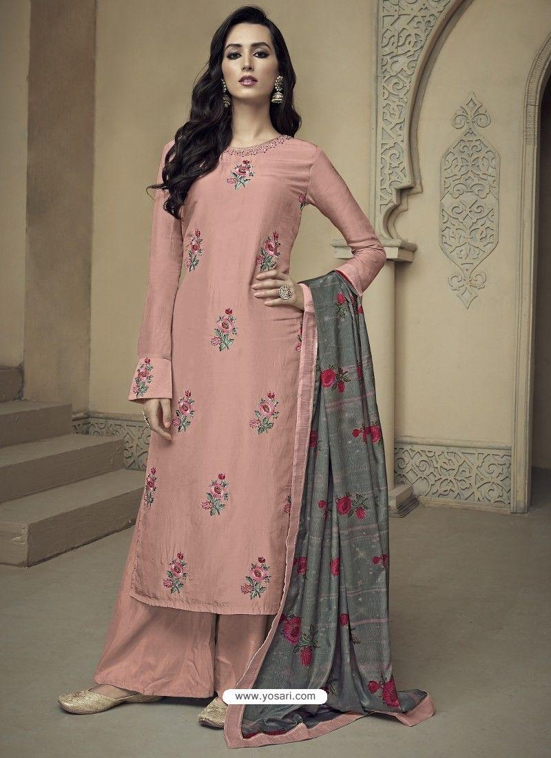 1eb5f0e179 Peach Upada Silk Thread Embroidered Palazzo Suit in 2019   Anarkali ...