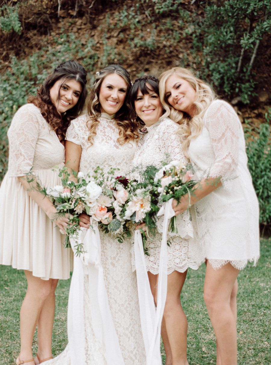 Think Your Bridesmaids Can T Wear White Think Again Bridesmaids Dress Inspiration White Bridesmaid Dresses Rustic Bohemian Wedding