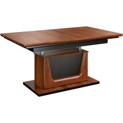 Photo of Height-adjustable dining table Lopar 25, color: walnut / black, partially solid – dimensions: 59 – 77 x 130