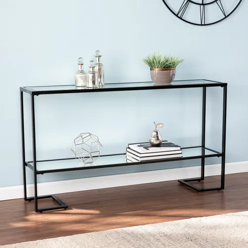 Glam Black Metal Glass Narrow Console Table Narrow Console Table Marble Console Table Console Table