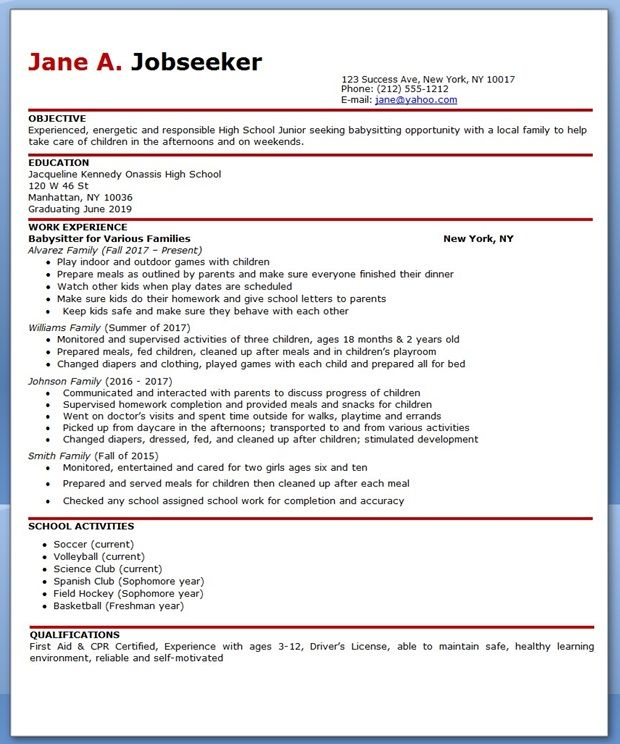 Good Babysitter Resume Example  Babysitting Resume Templates