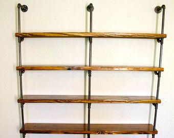industrial pipe bookshelves pipe shelving unit. Black Bedroom Furniture Sets. Home Design Ideas