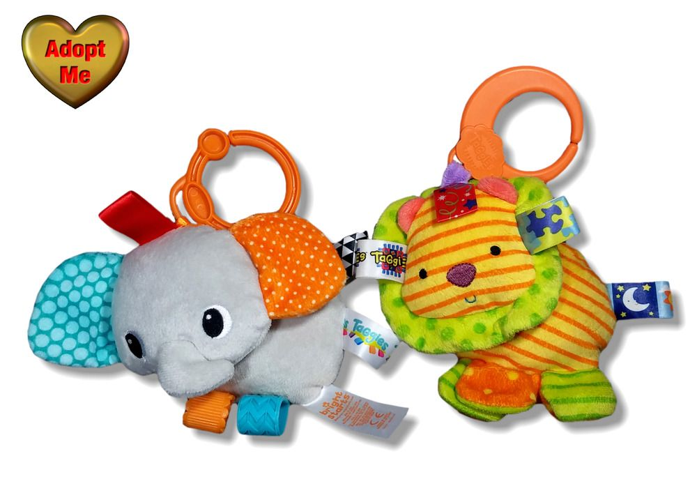 Details About Bright Start Taggies Elephant Rattle Lion Squeaker