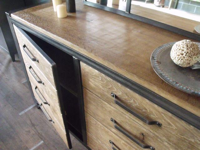 bahut bois acier industriel sur mesure micheli design am nagement exterieur pinterest. Black Bedroom Furniture Sets. Home Design Ideas