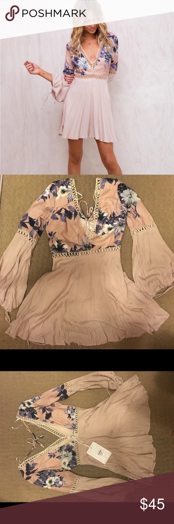 2406635700d Princess Polly Flowy Dress Never Worn. Still has tags. Beautiful pink dress  with cutouts and flowers. An Australian 10 which is a medium!