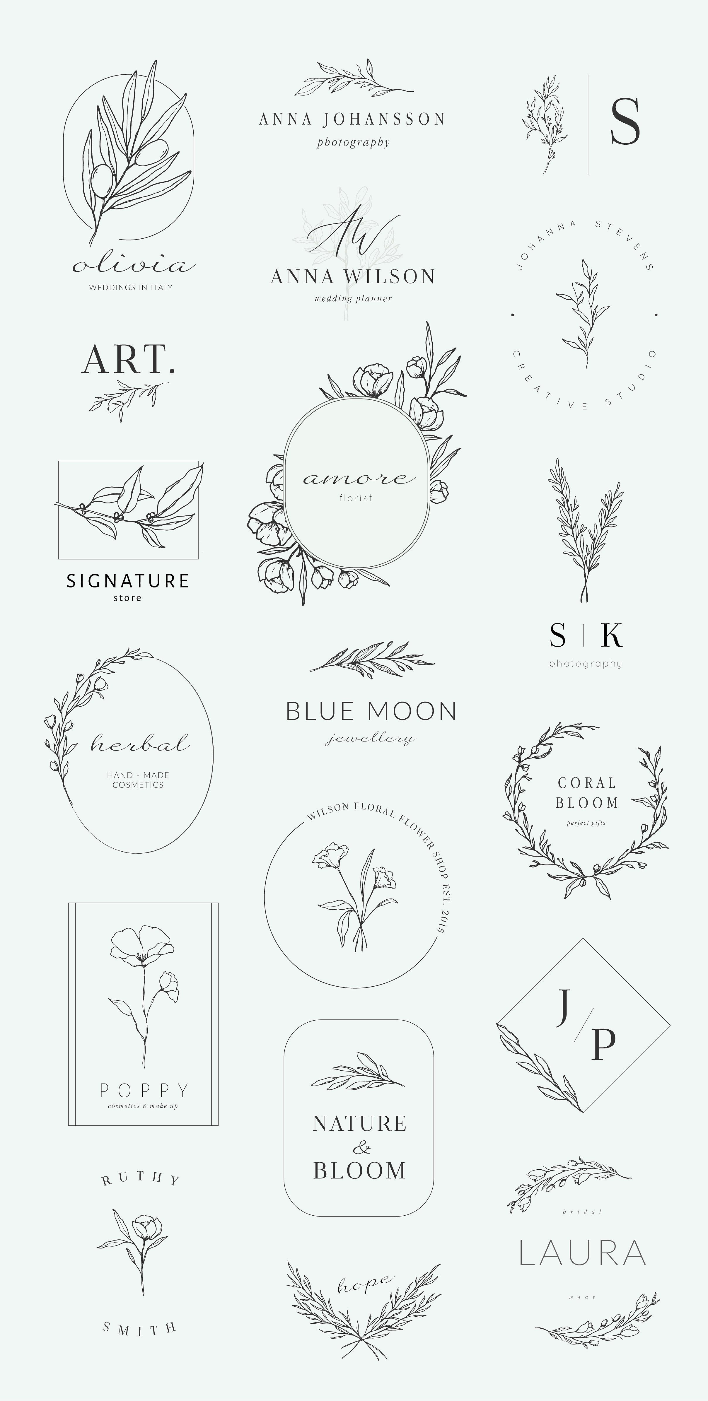 Botanical logos & illustrations by Crocus Paper on Creative Market -  Botanical ...