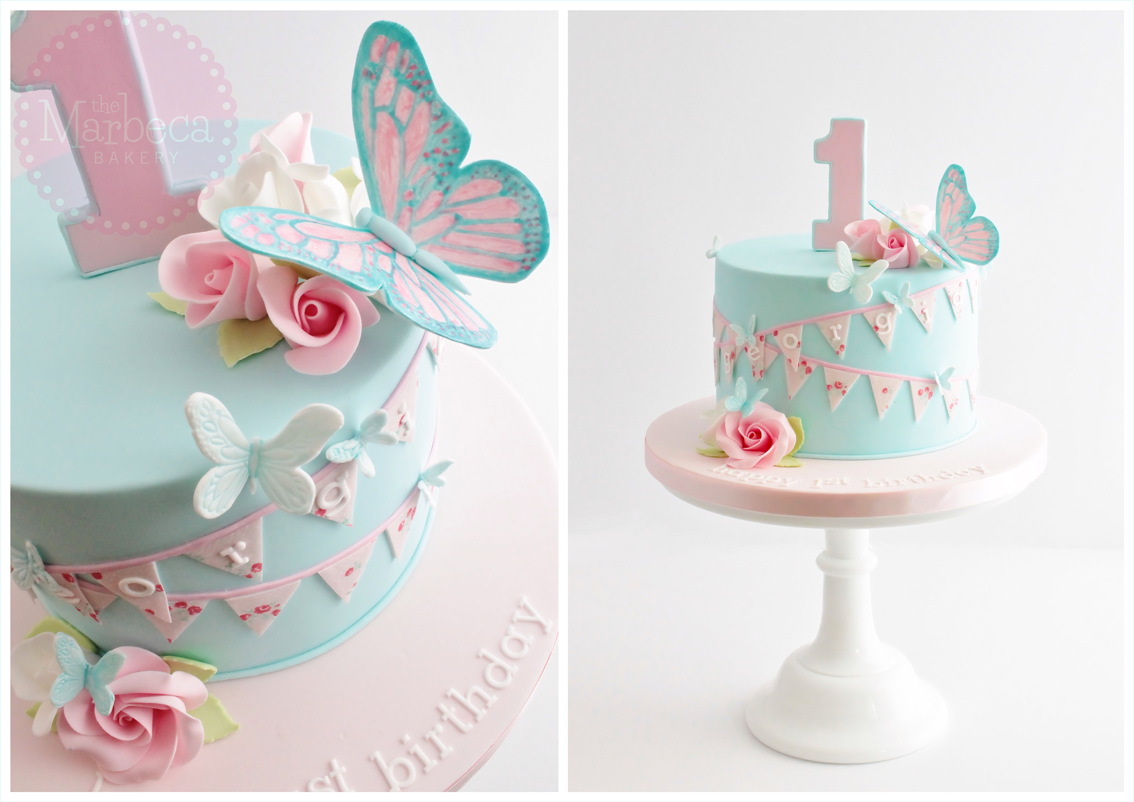 Butterflies, roses and bunting 1st birthday cake Cakes