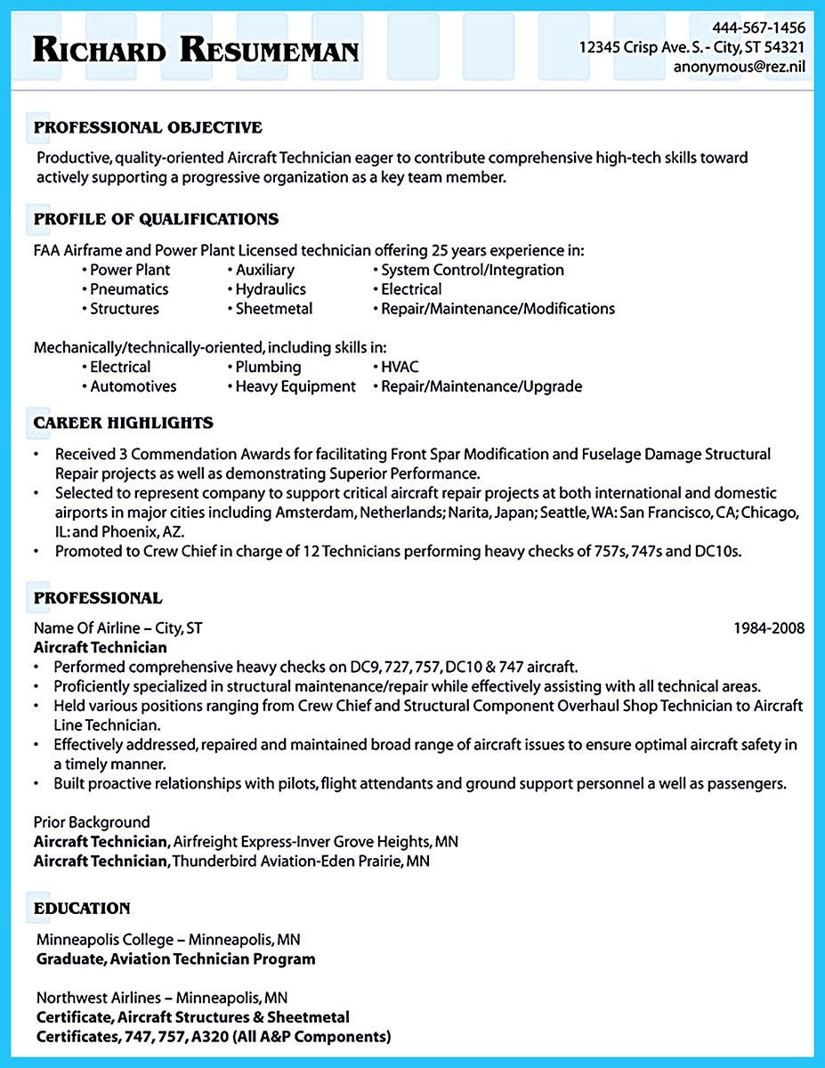 to arrange an aviation resume is different from other resumes sometimes it the resume format - Hydraulic Mechanic Sample Resume