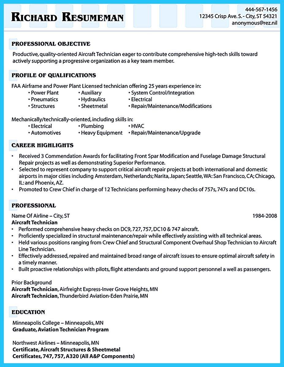 aviation resume format