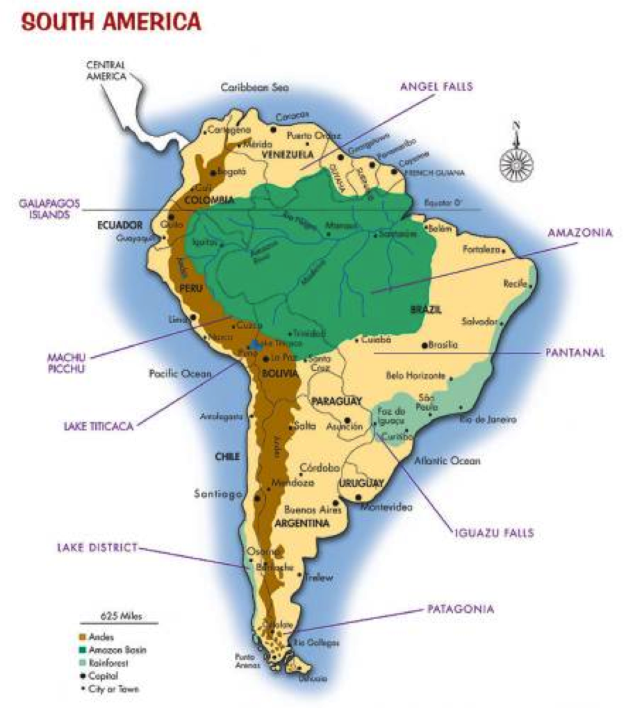 Map The Andes Mountains Inside World | South america map ...