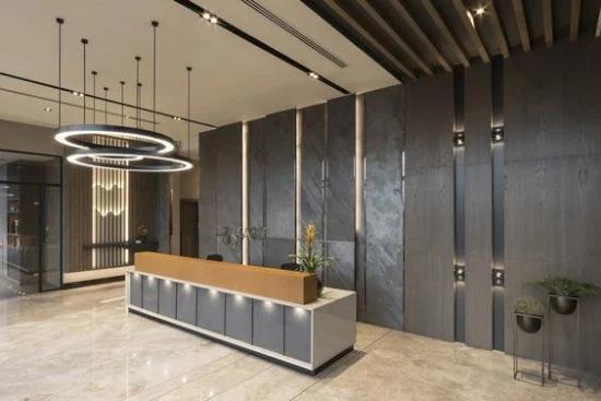 33 desain inspiratif meja resepsionis minimalis (Dengan gambar) Lobby design, Desain interior