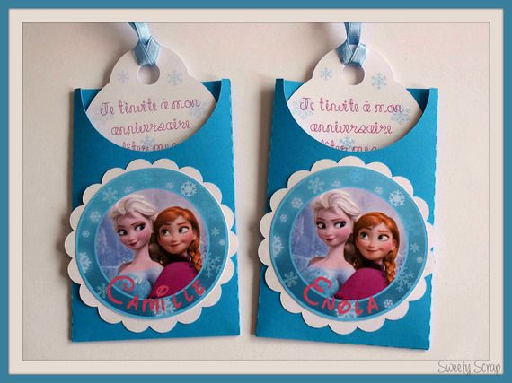 Lot de 6 cartes tag invitations anniversaire la Reine des neiges avec prénom