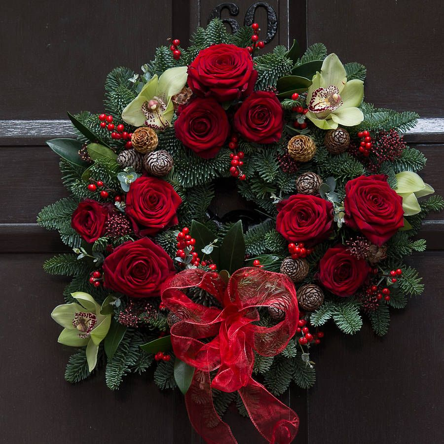 Red Rose Wreath Christmas Red Rose And Orchid Wreath By The Flower Studio Christmas Wreaths Christmas Decorations Wreaths Red Christmas Decor