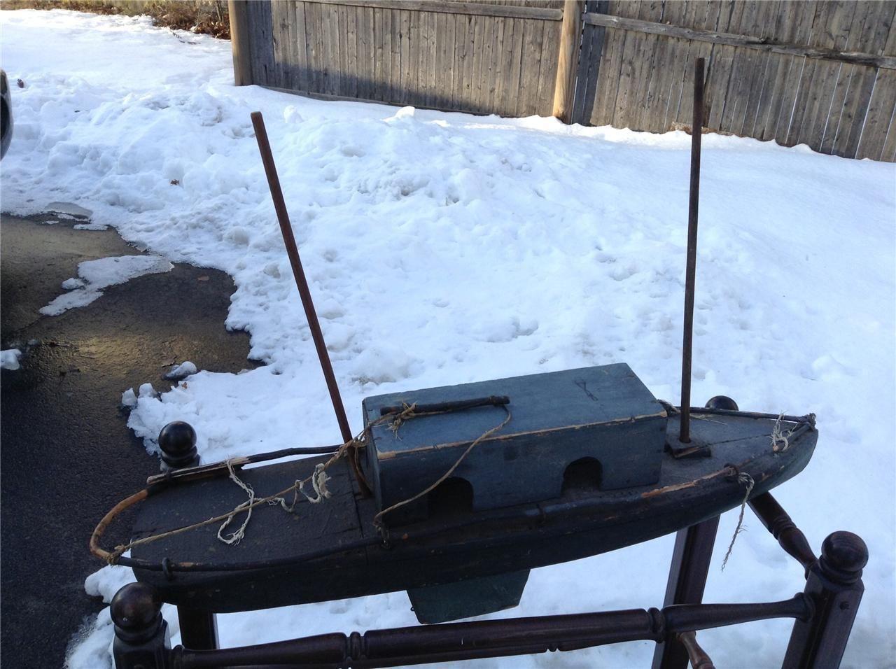 Antique Pond Model Cabin Boat Sailboat Folk