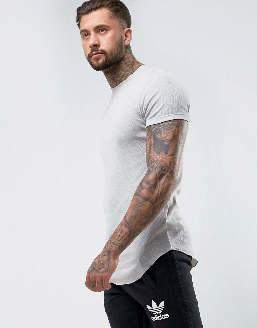 7a49b5d7 DESIGN super longline muscle fit rib t-shirt with curved hem in gray ...