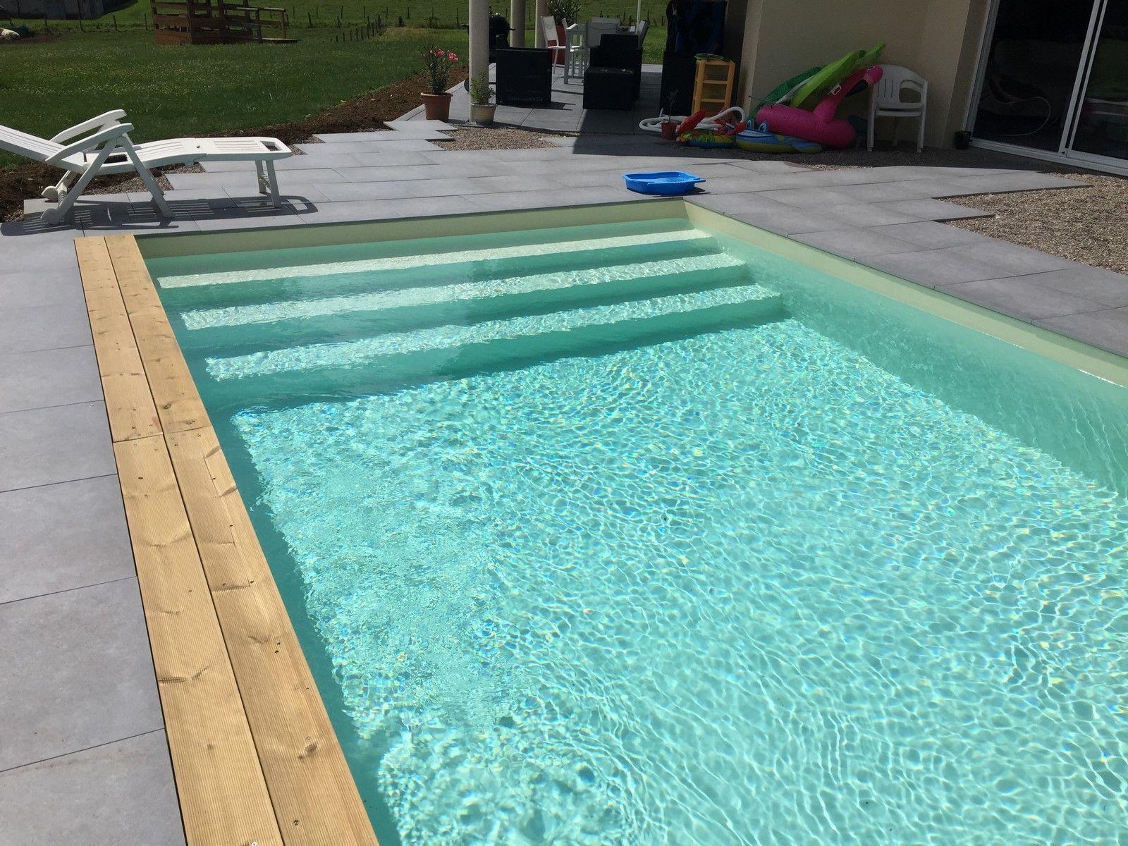 Piscine Beton Avec Plage Immergée piscine bois luxe rectangulaire avec plage immergée+escalier