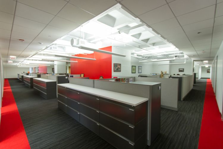 Bold color pops open ceiling and indirect lighting - Commercial interior design chicago ...