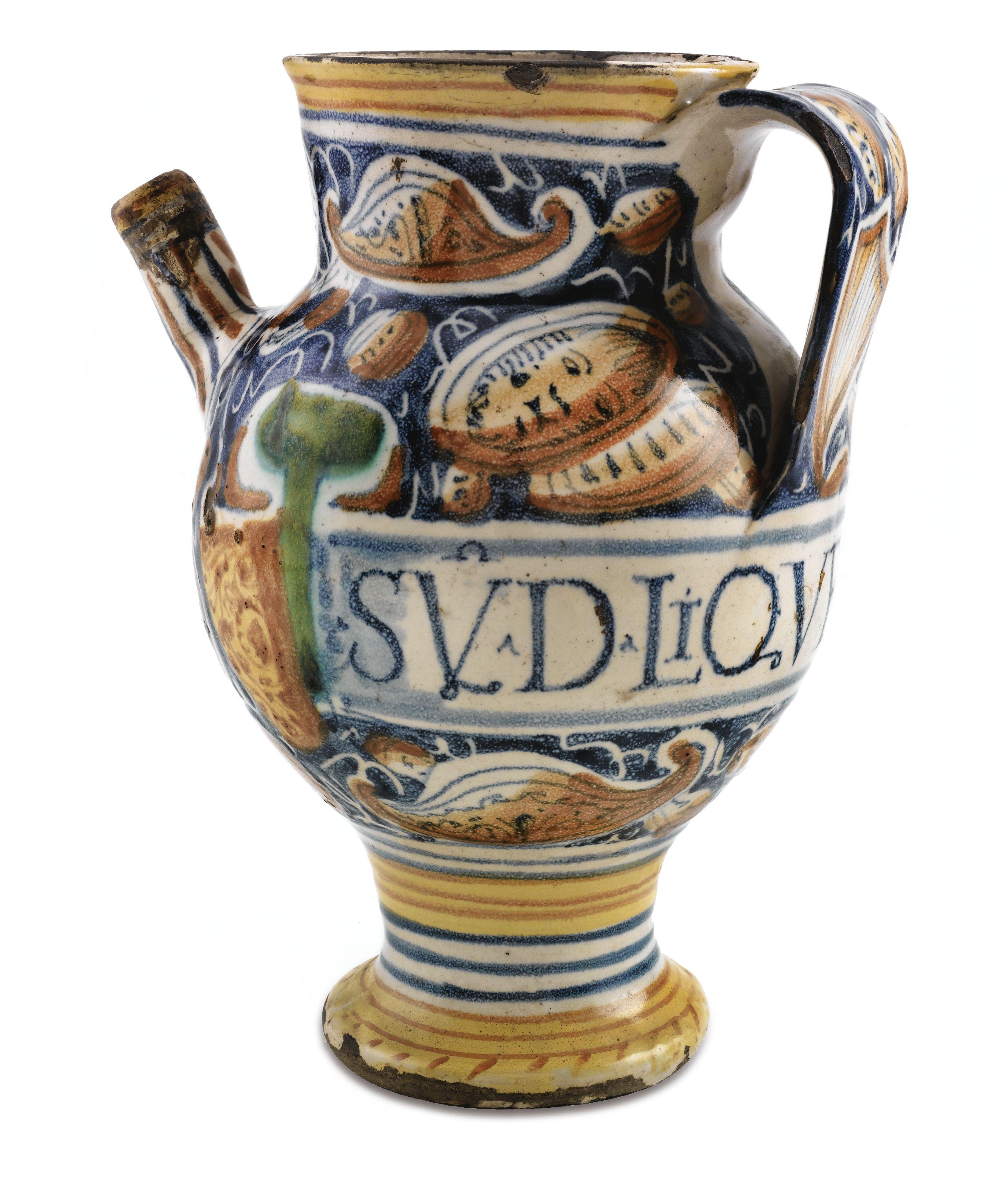 A Castel Durante Maiolica Syrup Jar Circa 1560 1570 Lot Pottery Antique Pottery Majolica Pottery
