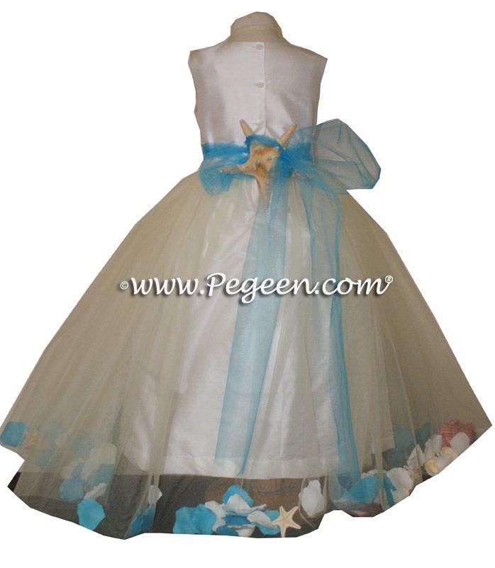 Teal Beach Flower Girl Dresses