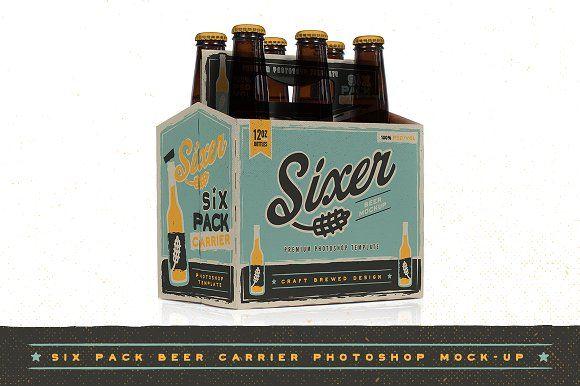 Six Pack Beer Bottle Carrier Mock Up By Ryantheweave On Creativemarket Beer Bottle Carrier Custom Bottle Caps Custom Bottles