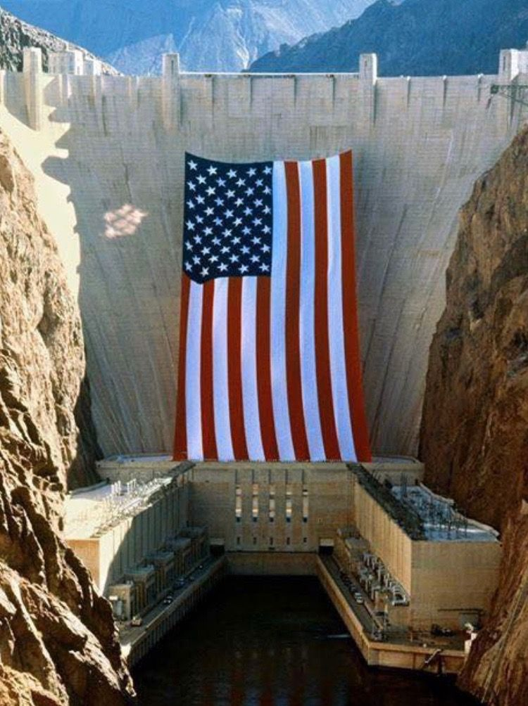 Pin By Bill Glaser On Military Patriotism Large American Flag Hoover Dam I Love America