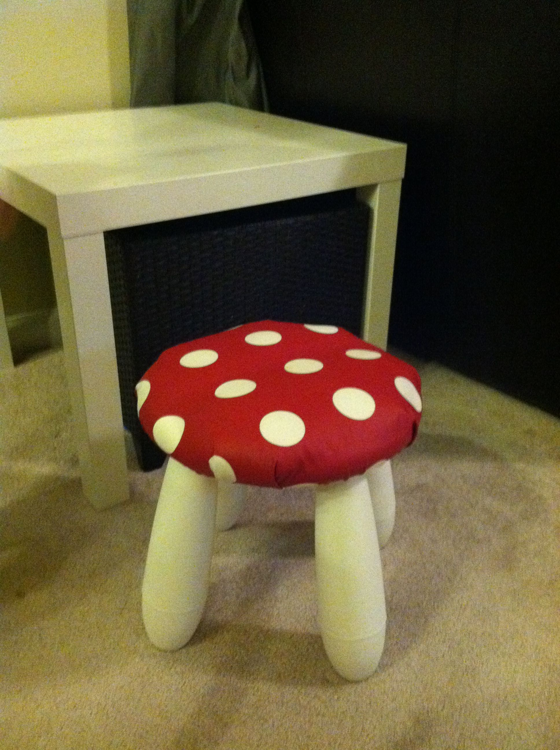 """Toad""""stool"""" Made From Ikea Mammut Stool And Ikea Red Polka"""