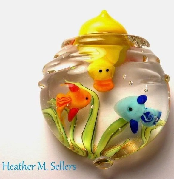 """""""Dive Team"""" paperweight by Heather Sellers. Flamework glass sculpture featuring …"""
