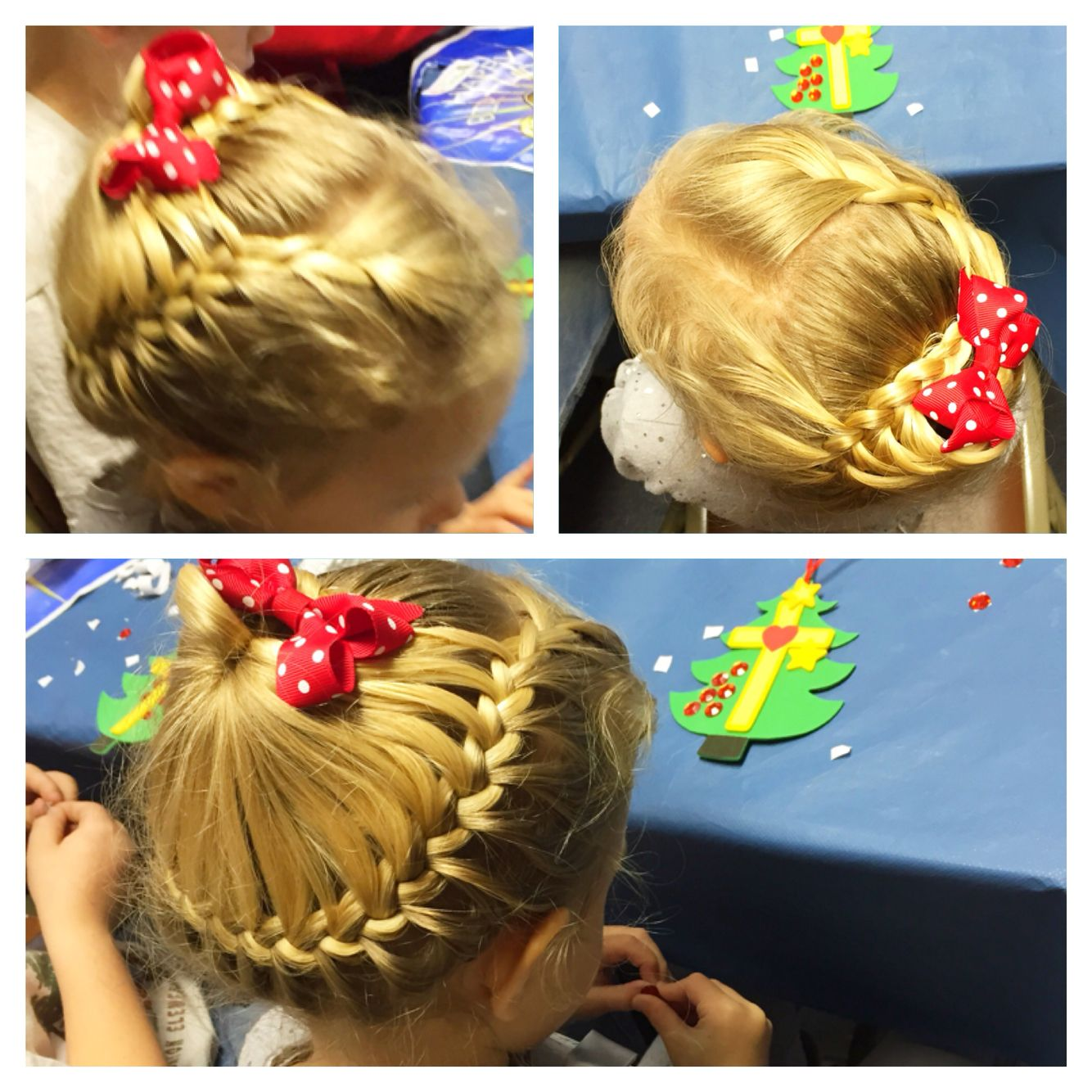 circle part band middle section in pony french braid