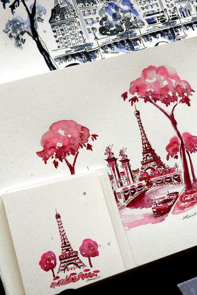 Pink Paris Postcard of the Eiffel Tower.