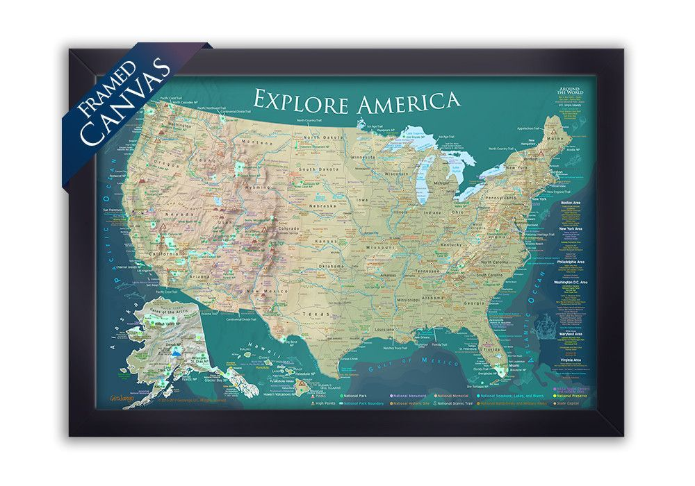 USA National Parks Map Natural Terrain Edition