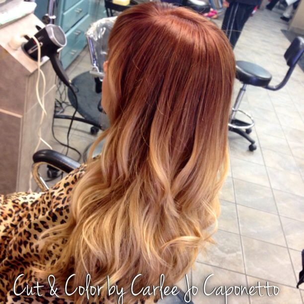 Red to blonde ombré.