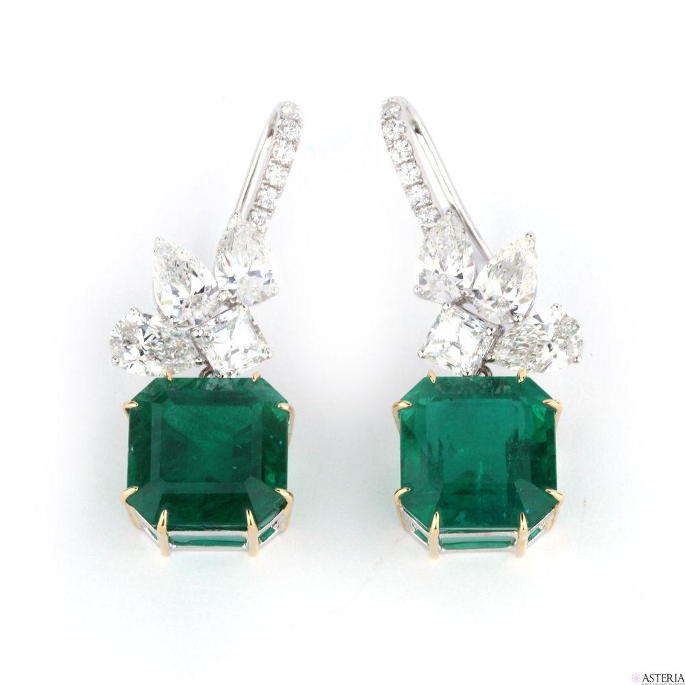 Natural green zambia emerald earrings carat grs certified