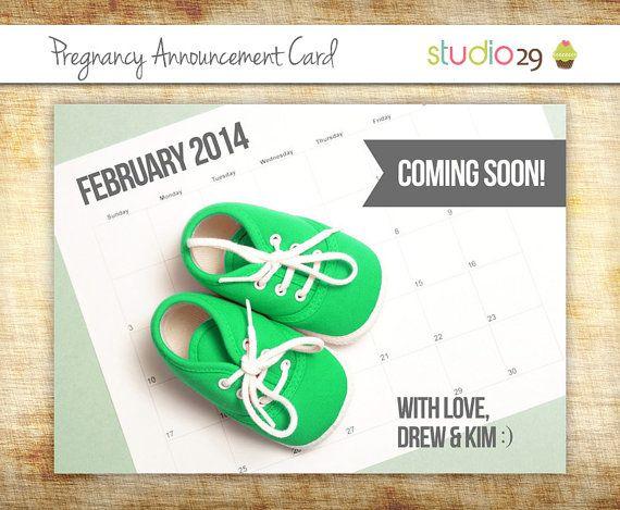 pregnancy announcement baby announcement card by studiotwentynine
