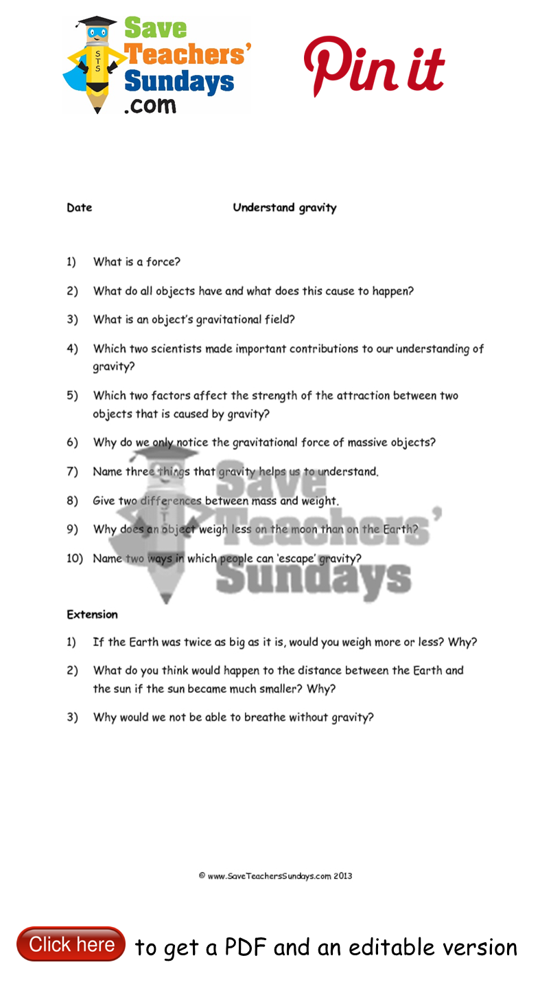 Worksheets Gravity Worksheets gravity questions and answer frame go to httpwww year 5 lesson 1 worksheets plans other primary teaching resources