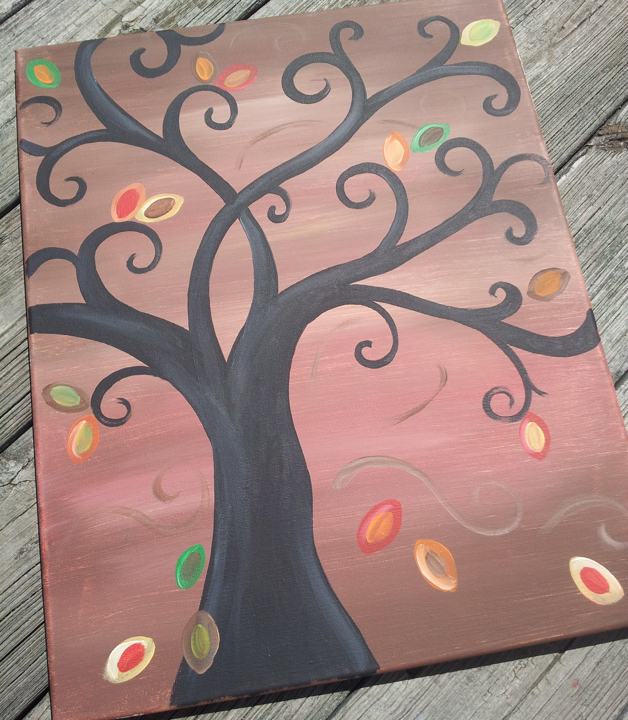 Fall tree canvas canvas paintings pinterest tree for Fall paintings easy