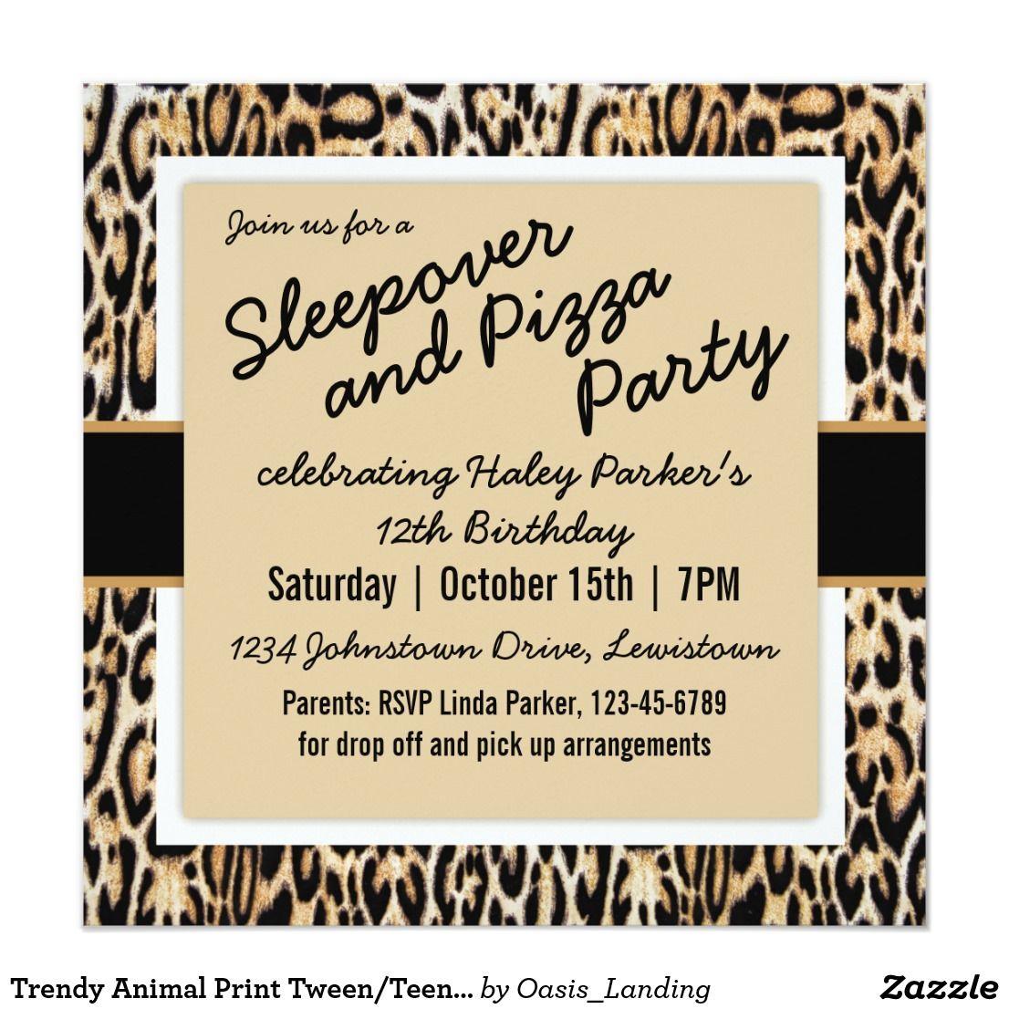 Trendy Animal Print Tween/Teen Birthday Party Card | Teen birthday ...