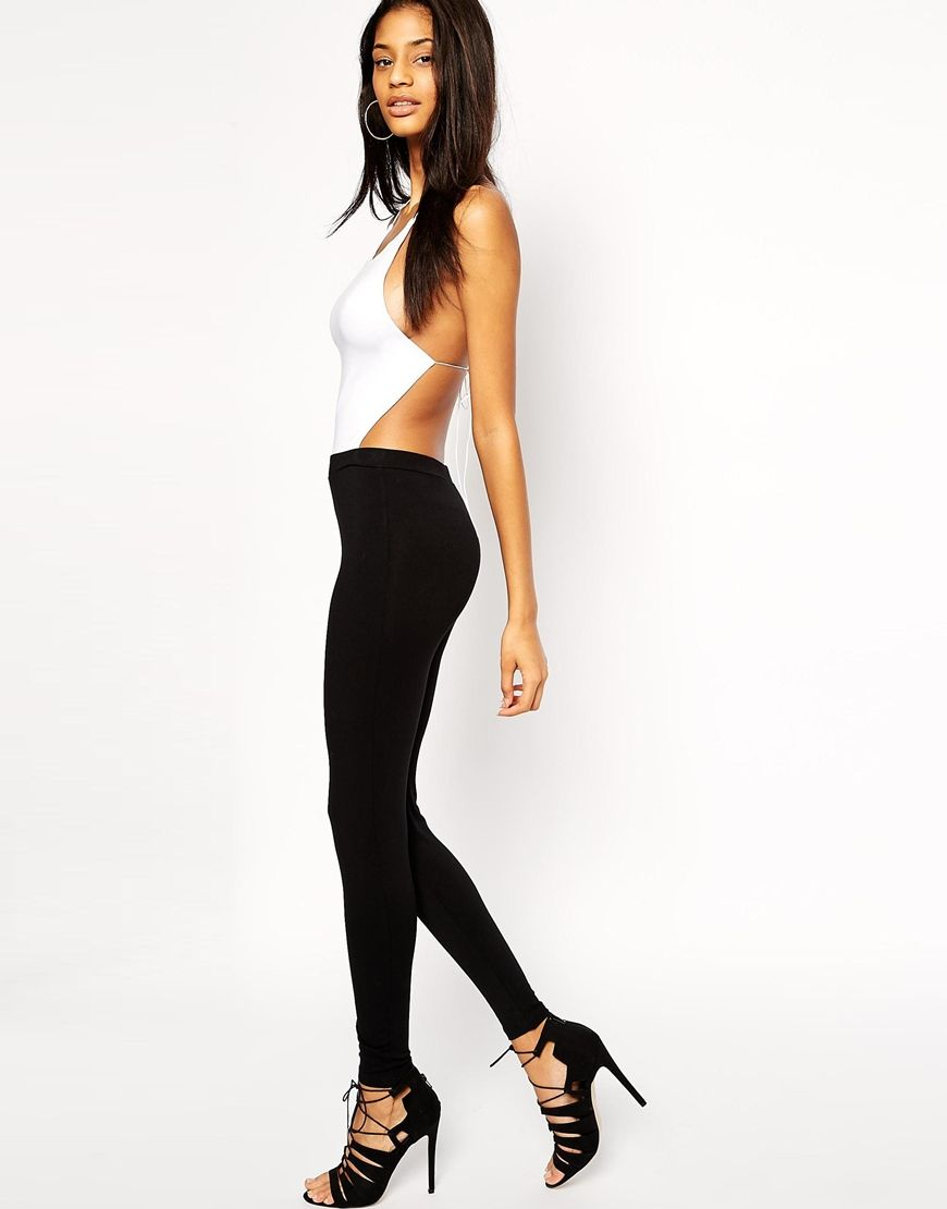 Image of asos halterneck jumpsuit in mono with strappy back